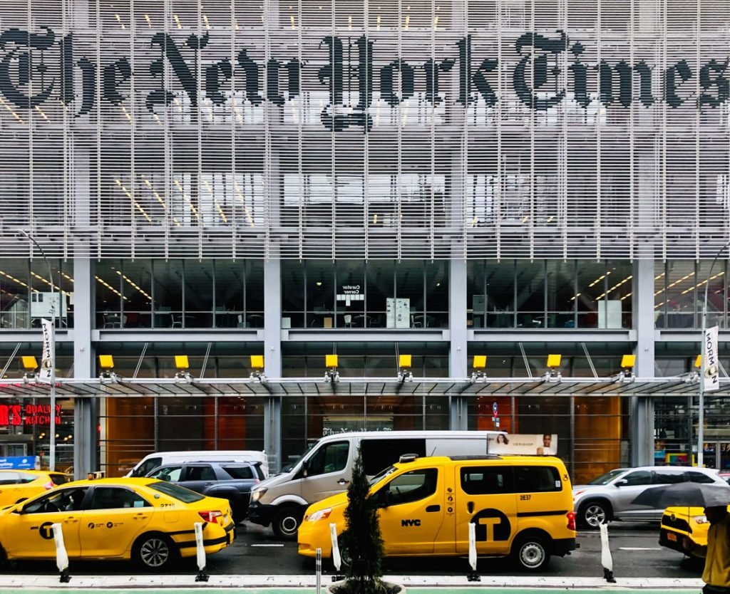 New York Times building where the team team of designers, writers, researchers, and software developers studied news trends