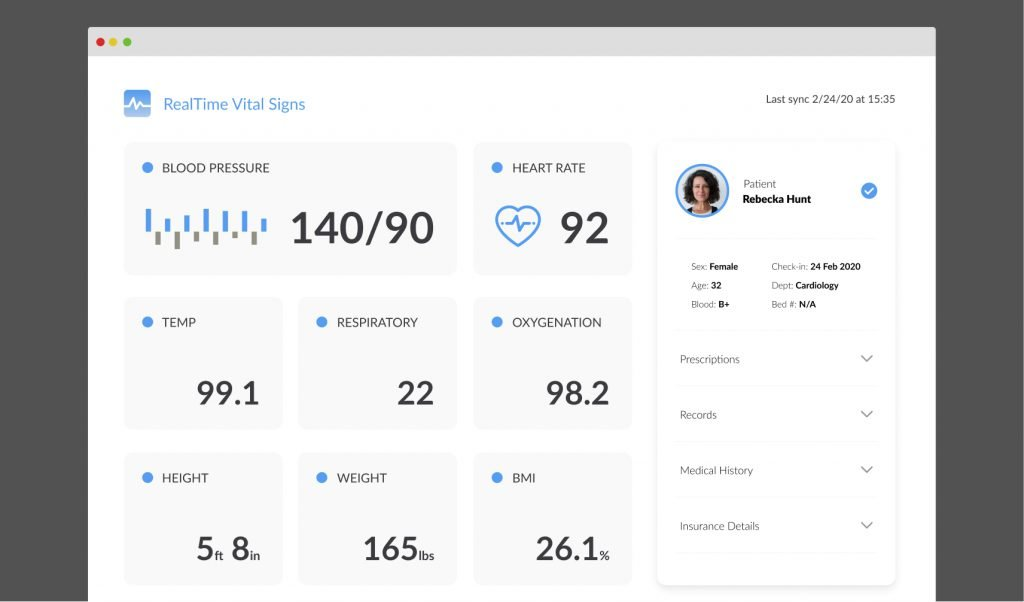 interface design of a health and wellness software product