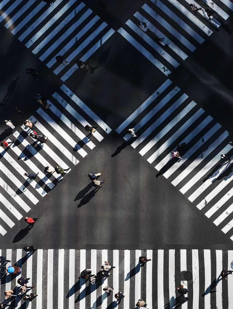 Aerial view of a crosswalk to show how service design works for users