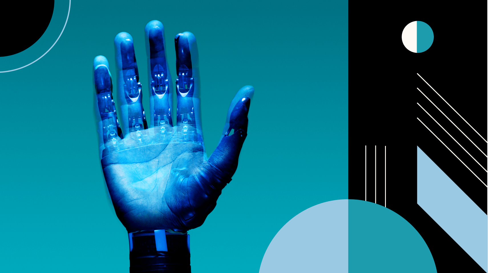 Artificial intelligence becoming more human with an overlay of robot and designer hands