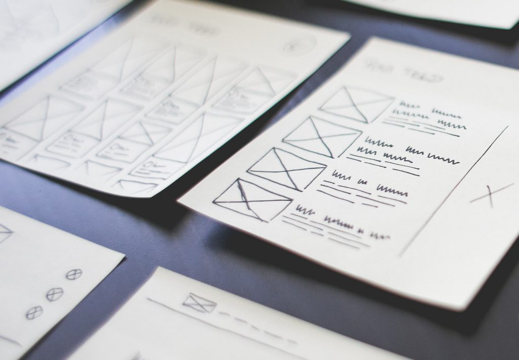 Sketches for product design show interaction screens