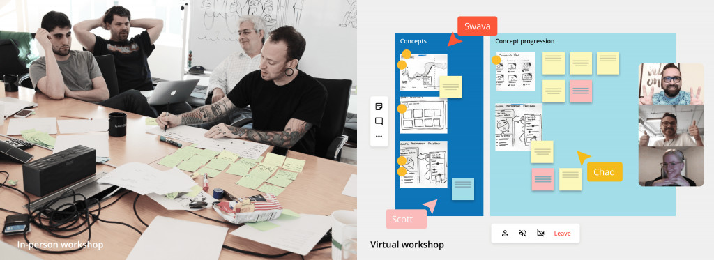 Design strategy workshops with clients in-person and online